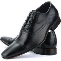 Sapato Social Sapatofran Couro Masculino - Masculino-Preto