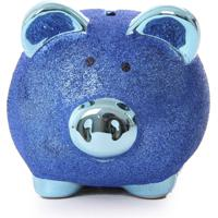 Cofre Real Arte Porco Glitter Azul