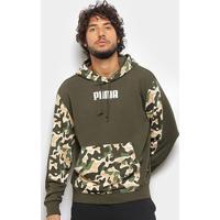 Moletom Puma Rebel Camuflado Tr Canguru Masculino - Masculino-Verde