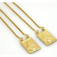 Escapulário Horus Import Nossa Senhora Carmo Banhado Ouro Amarelo 18 K - 1050001 - Dourado - Tricae