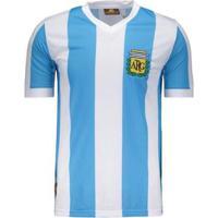 Camisa Argentina Retrô N° 10 Masculina - Masculino-Azul
