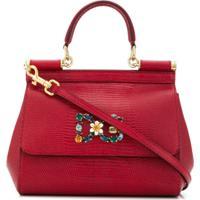 Dolce & Gabbana Bolsa Tote Com Broche De Buquê - Vermelho