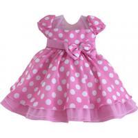 Vestido Infantil Minie Rosa - Tam 1 Ao 3