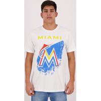 Camiseta New Era Mlb Miami Marlins Grunge Branca