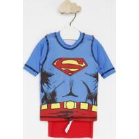 Camiseta Superman⮠Com Capa & Fpu 50+®- Azul & Vermelhauv Line