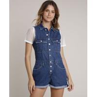 Macaquinho Jeans Feminino Com Puídos E Botões Sem Manga Azul Escuro