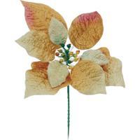 Flor Natalina Artificial Poinsettia Dourada Cabo Curto 15Cm