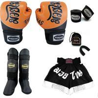 Kit Muay Thai Fheras- Luva Bandagem Bucal Caneleira Shorts- Tailandês 2 - Top 14 Oz