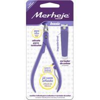 Conjunto – Merheje - Alicate Para Cutículas Cortador De Unhas - Lilás