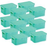 12 Caixas Organizadoras Rattan Pequena Verde 15,3 X 20,5 X 9,5 Cm - Tricae