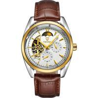 Relógio Tevise 795A Masculino Automático Pulseira De Couro - Branco E Dourado