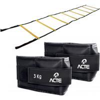 Escada De Agilidade Com 8 Degraus 50Cm + Caneleira Emborrachada 3Kg Acte Amarelo Acte Sports