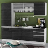 Cozinha Compacta 7 Portas E 3 Gavetas Sem Pia 100% Mdf Branco/Ébano/Desenho De Granito Ônix - Glamy