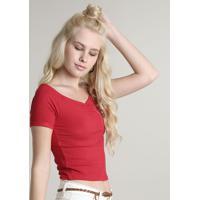 Blusa Feminina Cropped Canelada Com Franzido No Busto Manga Curta Vermelha
