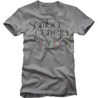 Camiseta Reserva Samba Cerveja E Futebol - Masculino-Cinza