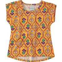 Blusa Floral & Geométrica - Amarelo Escuro & Rosa - Malwee