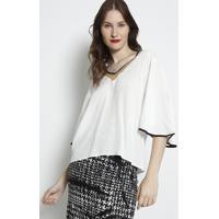 Blusa Lisa Com Recortes Em Tule- Off White & Preta- Forum