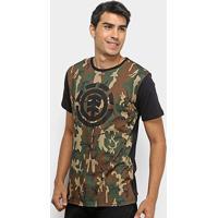 Camiseta Element Camuflada Masculina - Masculino-Verde+Preto