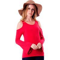 Blusa A Colorida Com Vazado No Ombro Vermelho