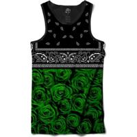 Camiseta Bsc Regata Green Rose Bandana Full Print - Masculino-Preto