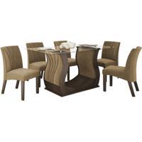 Conjunto De Mesa Fortuna 1.70M Com 06 Cadeiras Chocolate Tecido Veludo Pávia Bege Lj Móveis
