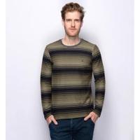 Suéter Tricot Slim Teodoro Listrado Gola Careca Masculino - Masculino-Verde Militar+Preto