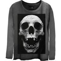 Camiseta Estonada Manga Longa Cranio
