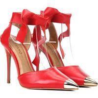 Scarpin Couro Carrano Chanel Com Amarração - Feminino-Vermelho