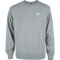 Blusão De Moletom Nike Sportswear Club Crew Ft - Masculino - Cinza Claro