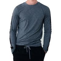 Camiseta Aeropostale Masculina Manga Longa Stripe Sleeve Cinza