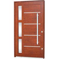 Porta Pivotante Lambris Horizontais Com Friso, Vidro E Puxador Alumínio Madeira 223,5X126,2X12Cm Direita Aluminium - 72460090 - Sasazaki - Sasazaki