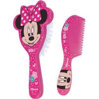 Conjunto De Higiene - Escova De Cabelo E Pente - Disney - Minnie Mouse - Lillo