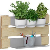 Kit Jardim Vertical 1004 Lyam Decor Green Com 03 Cachepots Bege