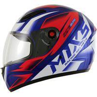 Capacete Fechado Para Moto Mix Mx2 Storm Azul E Vermelho