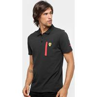 Camisa Polo Puma Scuderia Ferrari Masculina - Masculino-Preto