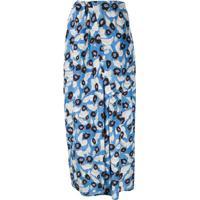 Christian Wijnants Foliage-Print Silk Skirt - Azul
