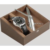 Kit De Relógio Analógico Mondaine Masculino + Canivete - 76679G0Mvnh1Kf Preto - Único