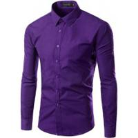 Camisa Social Slim Fit Solid - Roxa