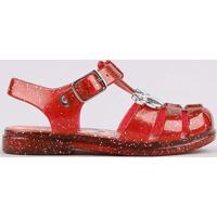 Sandália Infantil Com Tiras Cruzadas Com Glitter Vermelho