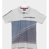 Camiseta Polo Infantil Estampada Gangster Masculina - Masculino-Cinza Claro