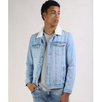 Jaqueta Jeans Masculina Trucker Com Pelo Removível Na Gola Azul Claro