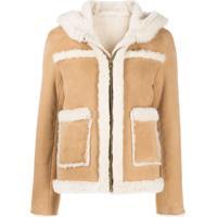 Sandro Paris Hooded Shearling Jacket - Marrom