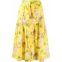 Kenzo Saia Midi Com Estampa Floral - Amarelo