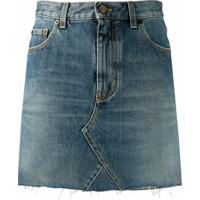 Saint Laurent Minissaia Jeans Com Barra Desfiada - Azul