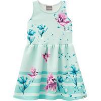 Vestido Floral Com Recortes- Verde & Rosa- Primeirosmundi