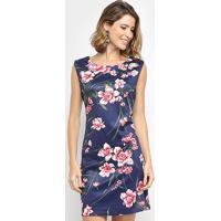 Vestido Aidi Curto Floral - Feminino-Azul