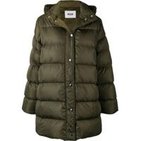 Msgm Oversized Padded Coat - Verde