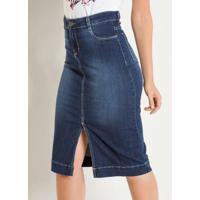 Saia Jeans Com Fenda Frontal Sawary