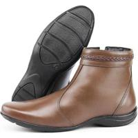 Ankle Boot Em Couro Sapatofran Creep Feminina - Feminino-Marrom