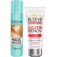 Kit L'Oréal Paris Magic Retouch + Cicatri Renov Kit Leave-In + Corretivo Capilar Louro Claro - Unissex-Incolor